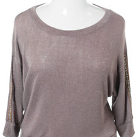 Plus Size Tribal Sleeve Patch Knit Taupe Top, Plus Size Clothing, Club Wear, Dresses, Tops, Sexy Trendy Plus Size Women Clothes