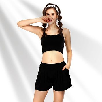 Hot Sale Solid Color Women Yoga Sports Bra Pleated Shorts Set