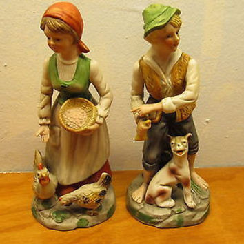 PAIR OF VINTAGE LARGE MAN AND WOMAN FRENCH COUNTRY COUPLE