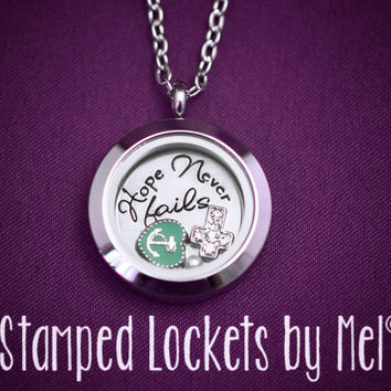 Hope Never Fails - Hand Stamped Stainless Locket - Inspirational Jewelry - Anchor and Cross Floating Memory Locket - Christian Charm Locket