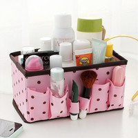 1Pc Bright Polka Dot Folding Foldable Multifunction Makeup Cosmetic Sundry Pouch Storage Box Container Bag Stuff Stationary Organizer Case Desk Basket Desktop Desk Home Office Supplies Pen Pencil Paper Holder- Random Color