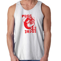 Pugs Not Drugs Red For Mens Tank Top Fast Shipping For USA special christmas ***