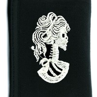 Lady of Death Skeleton Cameo Tri-fold Wallet w/ Chain Occult Clothing