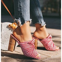 Hot sale red plaid cloth thick heel sandals and slippers plus size