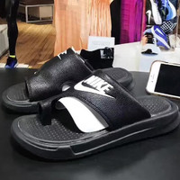 NIKE Casual Solid Color Flats Slipper Sandals Shoes