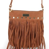 Faux Suede Crossbody Bag with Fringe