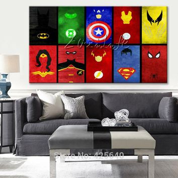 Marvel Comics Avengers Super Heroes print Painting on Canvas Poster and print for home decor wall art pictures for living room