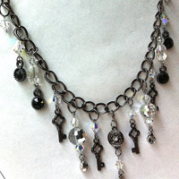 crystal gunmetal bling rocker necklace with key and mirror charms and rhinestones, key necklace, chain necklace, fringe necklace,