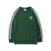 ADIDAS Tide brand men's classic three-striped round neck long-sleeved T-shirt