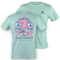 Simply Southern Preppy Collection Seahorse T-Shirt in Mint