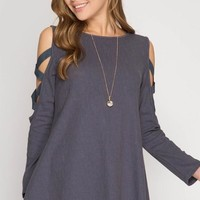Criss Cross Detailed Sleeves -  Grey Blue