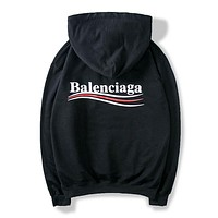 BALENCIAGA Autumn Winter Women Men Casual Long Sleeve Hoodie Sweater Sweatshirt Black