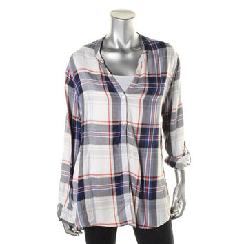 Soft Joie Womens Plaid Long Sleeves Button-Down Top