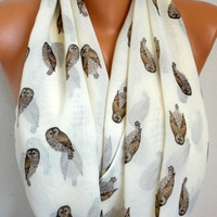 Owls  Scarf Infinity Scarf Shawl Circle Scarf Loop Scarf Gift - for her - fatwoman