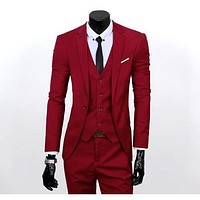Men's Red One Button Slim Fit Suit - Three Piece