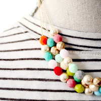 Three Strand Beaded Statement Necklace- Gold Or Silver Chains
