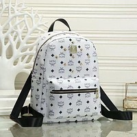 MCM classic letters printed wicker backpack