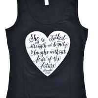"""Aubrey Heath Design — """"She is clothed with STRENGTH & DIGNITY"""" - Women's Tank Top"""