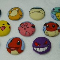 SET of THREE Original Pokemon Button Style Pins You Pick - made from up-cycled Pokemon fabric