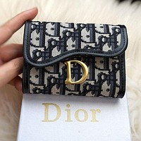 DIOR Fashion Women Men Canvas Buckle Purse Wallet