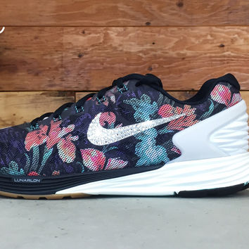 Nike Lunarglide 6 Photosynthesis customized by Glitter Kicks Running Shoes Floral Pattern