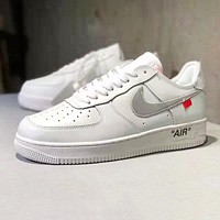 NIKE Air Force 1 x Off White Newest Trending Men Sport Running Shoes Sneakers White