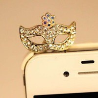 Clear Crystal Mask  Anti Dust Plug for iPhone 4s &3.5mm Earphone Jack Cell Phone