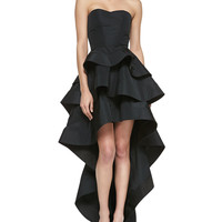 Leros Silk Ruffled Strapless High-Low Dress