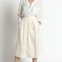 Vintage 80s Ivory Silk High Waisted Full Midi Skirt with Pockets   XS/S