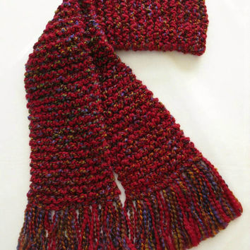 Red Scarf, Long Chunky Winter Scarf, Men or Women Hand Knitted Scarf, Red Multicolor Scarf