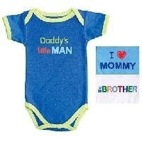 Luvable Friends Baby Sayings Bodysuit Family Boy, Little Brother, 0-3 months