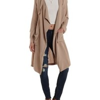 Taupe Soft Twill Waterfall Trench Coat by