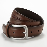Croft & Barrow Braided Inset Leather Belt - Extended Size, Size: 46 (Brown)