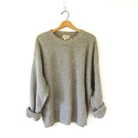 Vintage oversized cotton sweater. speckled sweater. cotton knit pullover. baggy boyfriend sweater. size 2XL