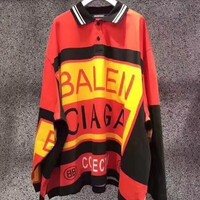 Balenciaga Long Sleeve Loose Knit  Multicolor Lapel Pullover Sweater