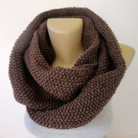 brown infinity scarf , unisex scarf ,winter accessories ,scarf trends ,cowl ,eternity . acrylic yarn