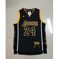 Jerseys Los Angeles Lakers Kobe Bryant #24 Black Gold Mamba Special Retired Jersey