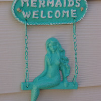 Beach Decor Cast Iron Mermaids Welcome Sign by ByTheSeashoreDecor