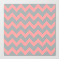 Chevron Gray Coral Pink Stretched Canvas by BeautifulHomes   Society6