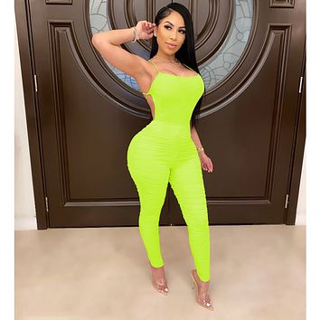 fhotwinter19 new style women's hot sale multicolor smocked jumpsuit
