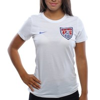 Nike US Soccer Ladies Core Crest Slim Fit T-Shirt - White