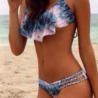 Halter Neck Print Swimsuit