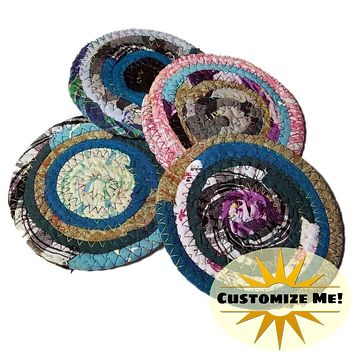 Multicolor Fabric Coasters, Set of 4, Made to Order, Colors Will Vary