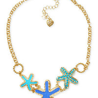 Betsey Johnson Necklace, Gold-Tone Starfish Frontal Necklace - All Fashion Jewelry - Jewelry & Watches - Macy's