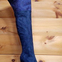 Xena Navy Blue OTK Pointy Toe Boot Lace Peek A Boo Panel Sizes 6.5-11 Xena