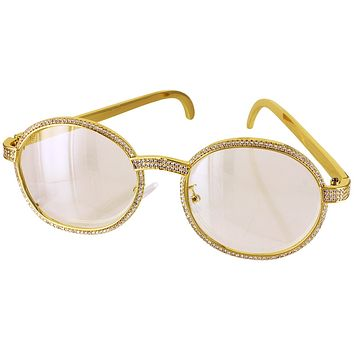Gold Tone Icy Round Frame Metal Band Custom Glasses