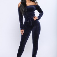 Need A Hug Velour Jumpsuit - Navy