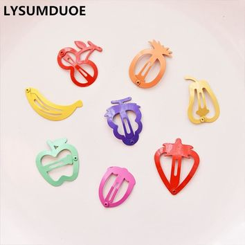 LYSUMDUOE 10Pcs/Lot Hello Kitty Fruit Hair Accessories Boutique Barrette Cherry Banana Hairpin Clip Girl Cute Headband Clip Gift