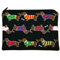 Dachshund Dogs in Sweaters Zipper Pouch, Gadget, Cell Phone, Camera Case, Small Makeup Bag