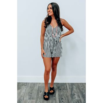 Hit Me Up Romper: Black/White